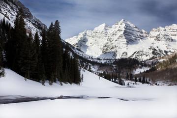 Snow covered Maroon Bells, Winter, Colorado
