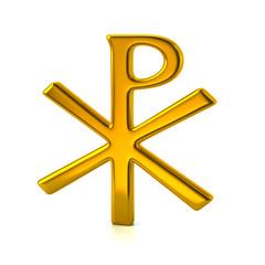 Golden chi rho christian symbol