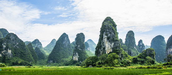 Karst mountains and countryside scenery in summer