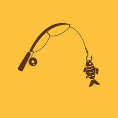 Fishing rod icon. Hook and angling, fisherman symbol. Flat design. Stock - Vector illustration