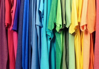 Colourful clothes hanging abstract texture background