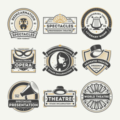 Dramatic theatre vintage isolated label set