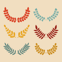 Vector set of different floral, wheat laurels and wreaths.