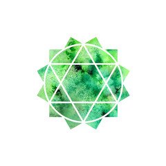 Anahata chakra. Sacred Geometry. One of the energy centers in the human body. Object for design intended for yoga. Watercolor. Raster copy.
