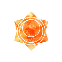 Svadhisthana chakra. Sacred Geometry. One of the energy centers in the human body. The object for design intended for yoga. Watercolor. Raster copy.