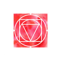 Muladhara chakra. Sacred Geometry. One of the energy centers in the human body. The object for design intended for yoga. Watercolor. Raster copy.