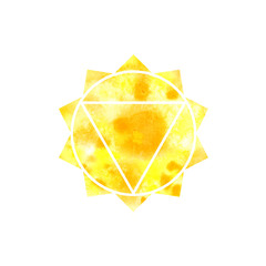 Manipura chakra. Sacred Geometry. One of the energy centers in the human body. The object for design intended for yoga. Watercolor. Raster copy.