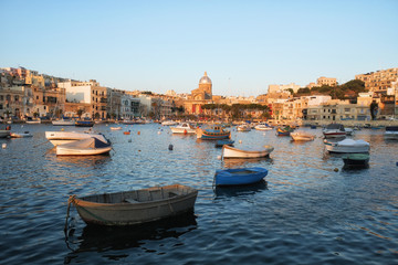 The view of the Kalkara bay in the sunset light, Malta.