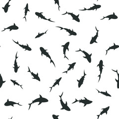 Swimming sharks seamless pattern