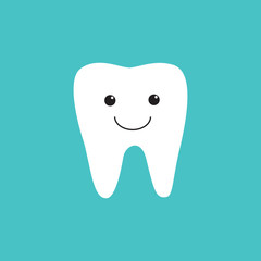 White flat smiling tooth icon on blue