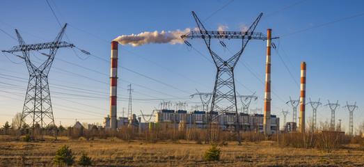 Gryfino, Poland-February 2017: Classic coal plant, coal-fired power plant