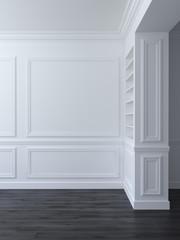 White classic empty space interior