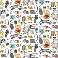 Seamless pattern Hand drawn doodle Cinema set. Vector illustration. Movie making icons. Film symbols collection. Cinematography freehand: camera, film tape, photo camera, pizza, popcorn, projector.