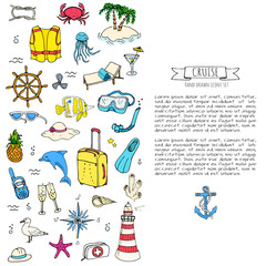Hand drawn doodle Cruise vacation icons set Vector illustration summer adventure emblem collection Cartoon cruise liner concept elements Sea symbols Marine concept with Ship Summertime Elements Boat