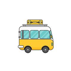 Vector illustration of a retro travel van
