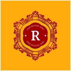 The letter R. Flourishes calligraphic monogram emblem template. Luxury elegant frame ornament line logo design vector illustration. Example designs for Cafe, Hotel, Heraldic, Restaurant, Boutique