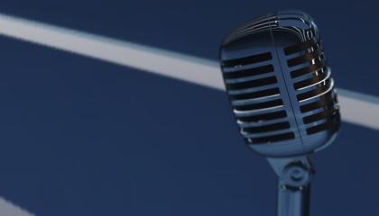 Retro aluminium microphone. 3d render