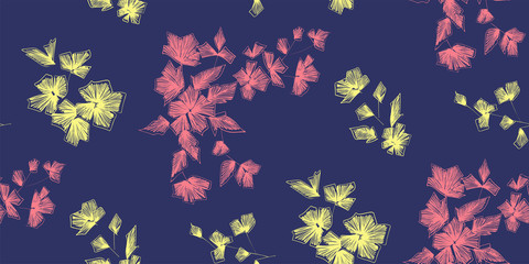 Floral seamless background pattern with fantasy flowers and leaves  Line art. Embroidery flowers. Vector illustration