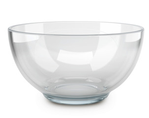 Empty transparent glass cooking bowl.