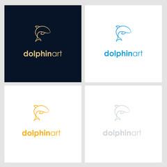 dolphin line company logo. wild animal logo with minimalist concept