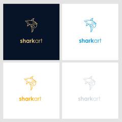 shark line company logo. wild animal logo with minimalist concept