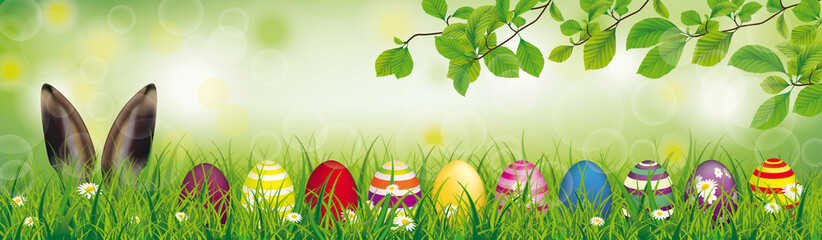 Hare Colored Easter Eggs Grass Beech Twigs Header