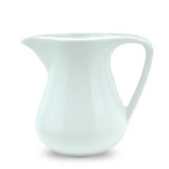 Cream and milk ceramic jug on white background.
