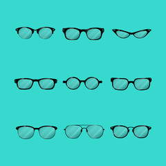 Set of different glasses for your designs.