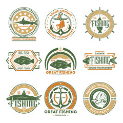 Fishing tournament vintage isolated label set