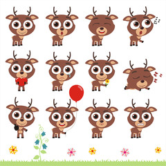 Big set cute little deer. Collection isolated cartoon deer in different poses.