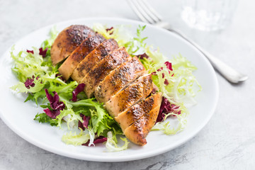 roasted  chicken breast with fresh salad