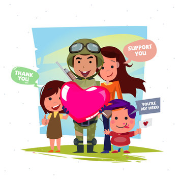 Soldier holding a big heart of love with family or people and kid to support and thank you our soldier - vector