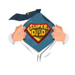 "Man open shirt to show ""Super Dad typographic "" in comic style. super father concept - vector"