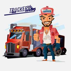 Truck driver with big truck. character design. trucker concept - vector