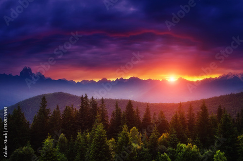 Wall mural Majestic colorful sunset
