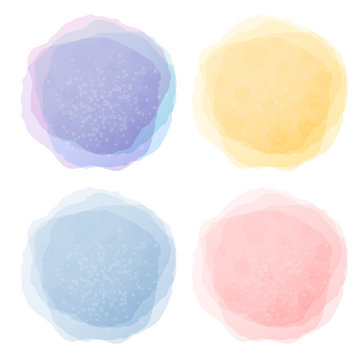 Abstract pastel watercolor labels isolated on white background.