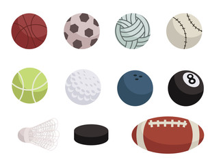 Flat sports balls vector pack