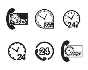 Always available services. 24/7 icons set.