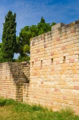 Printed roller blinds Ruins Steinmauer einer alten römischen Villa restauriert Rhein Kulturgut Geschichte Römer