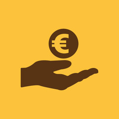Euro in hand icon. Wealth, money, investments, savings symbol. Flat design. Stock - Vector illustration