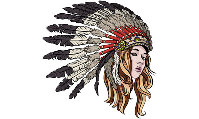 Girl with chief headdress vector illustration.