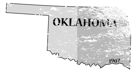 Oklahoma State and Date Map Grunged