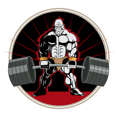 This Is Powerlifting. Bodybuilders Are Bigger. Powerlifting Training. Bodybuilder Ape Mascot Character With A Barbell In His Hands. Fight Brutal Theme. Powerlifter Logo. T-Shirt Design.