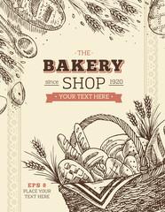 Vintage Bakery basket design template. Bread illustration. Vector illustration
