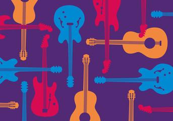Guitare - Guitare électrique - Guitare acoustique -  Carte postale - concert - affiche