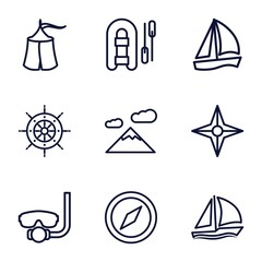 Set of 9 adventure outline icons