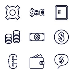 Set of 9 currency outline icons