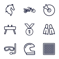 Set of 9 sport outline icons