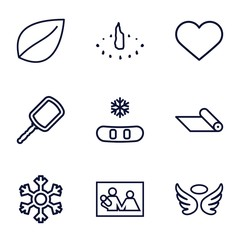 Set of 9 decoration outline icons