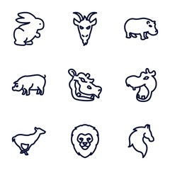 Set of 9 mammal outline icons